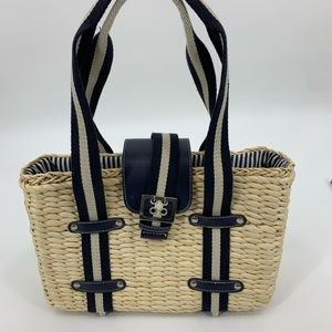 Straw purse handbag navy white nautical beach